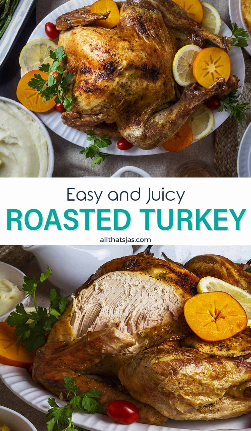 Two image photo of the juicy turkey roast with text overlay in the middle.