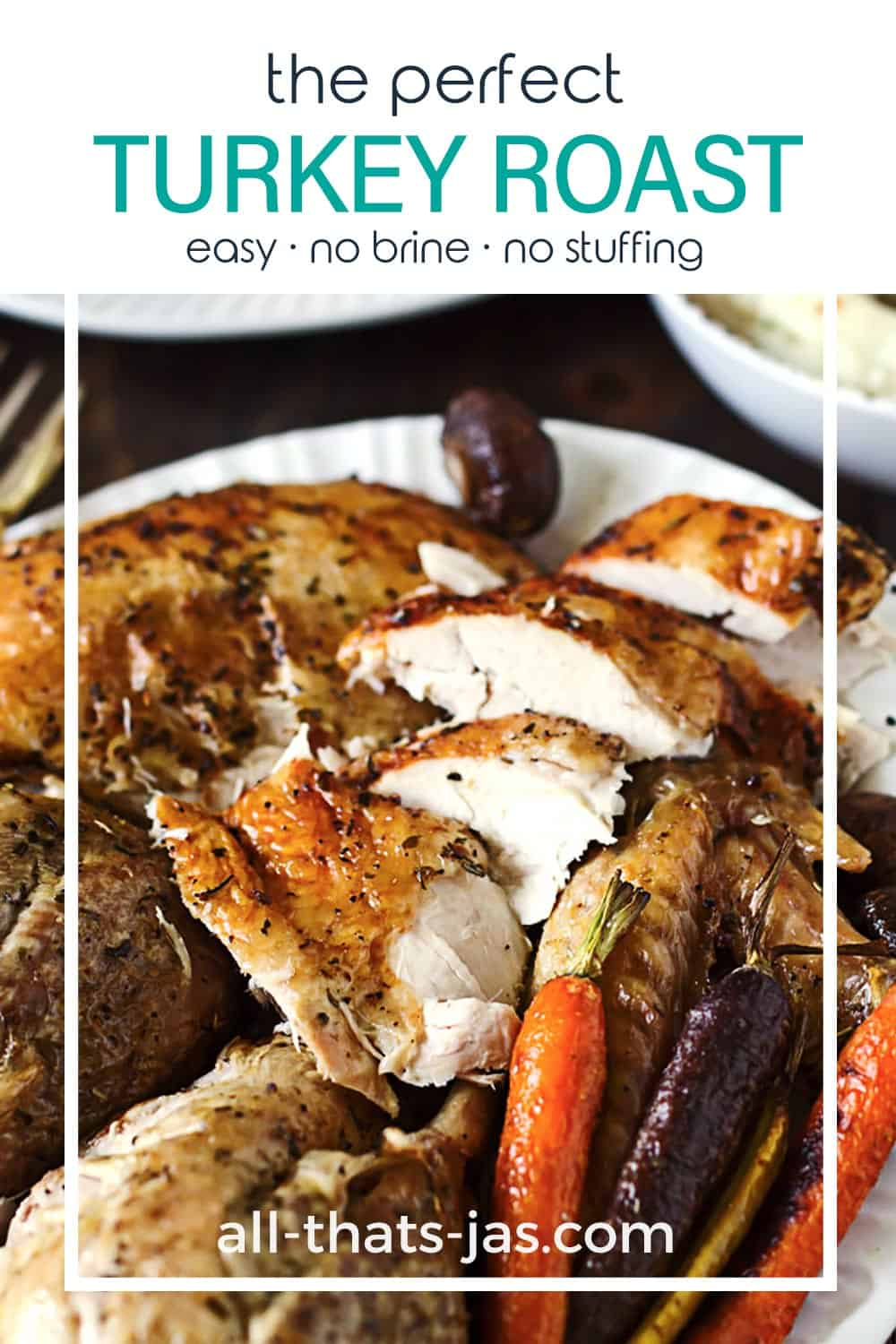 A close up of turkey slices with text overlay.