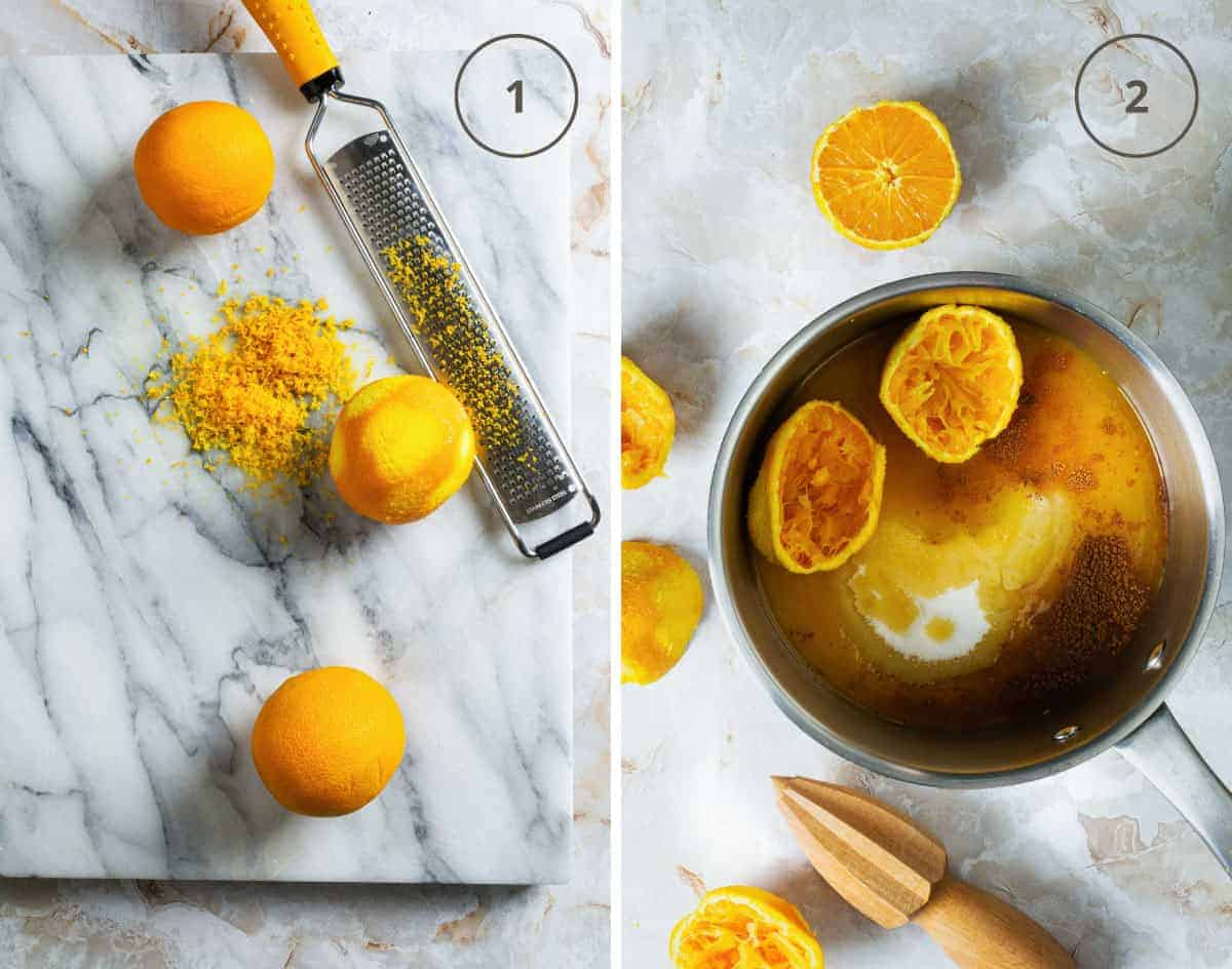 Two steps to making orange syrup for portokalopita: zesting the orange and cooking it with water and sugar.