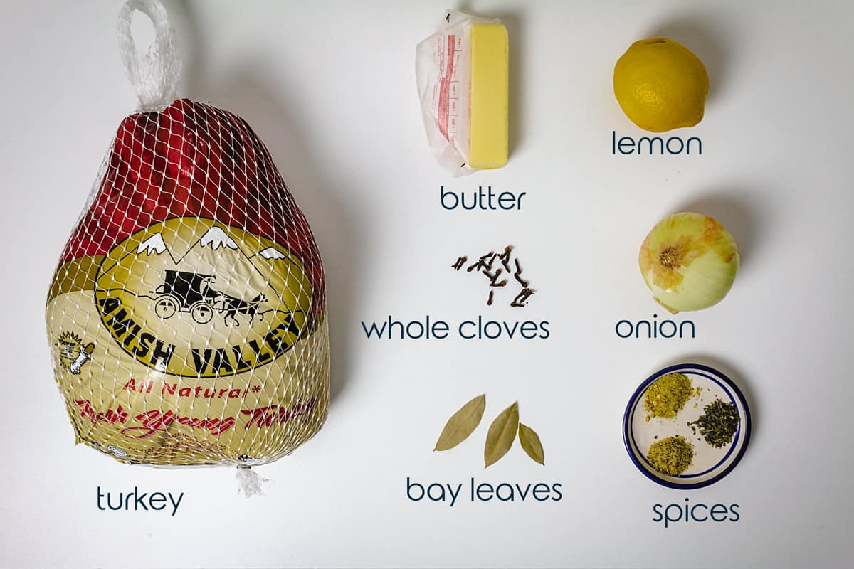 Ingredients for oven-roasted turkey on a counter with onion, lemon, butter, and spices.
