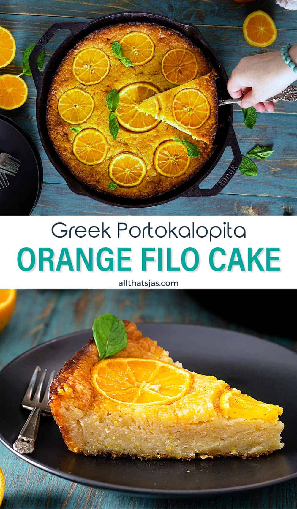 Two photo mage of the Greek cake with oranges and pastry with text overlay.