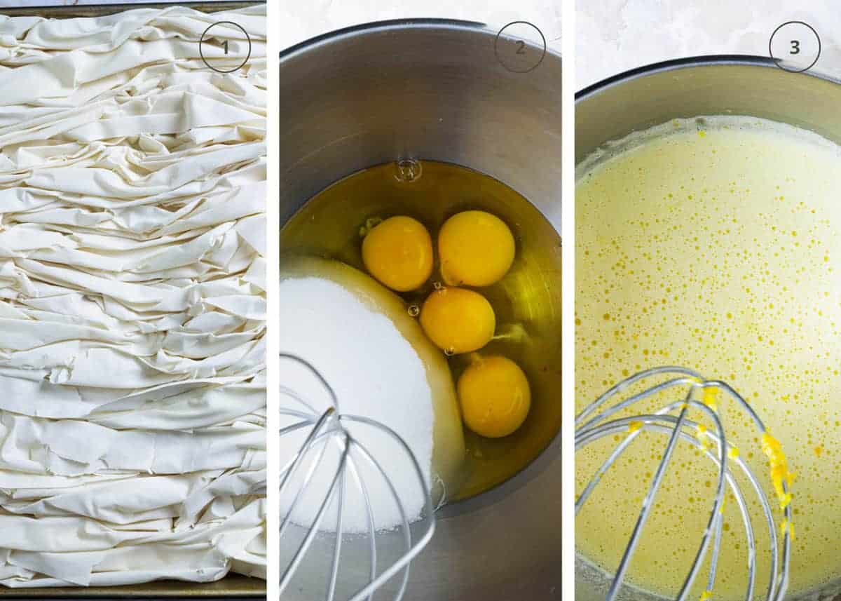 First three steps to making the Greek cake with filo and egg orange filling.