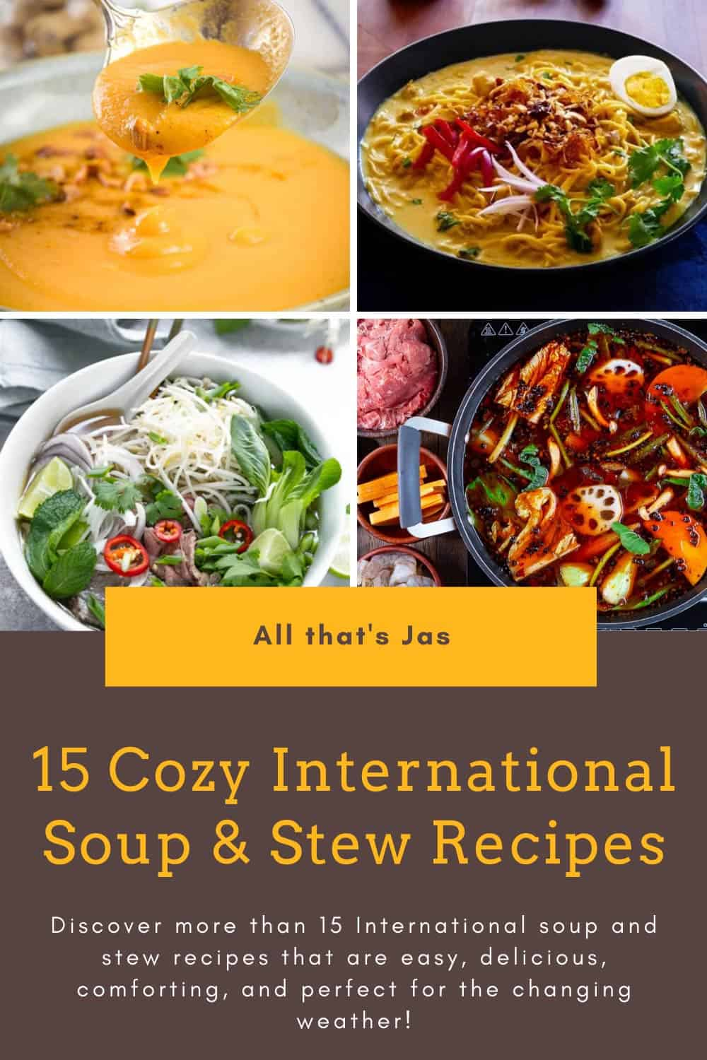 A poster with four photos of hearty stews and text.