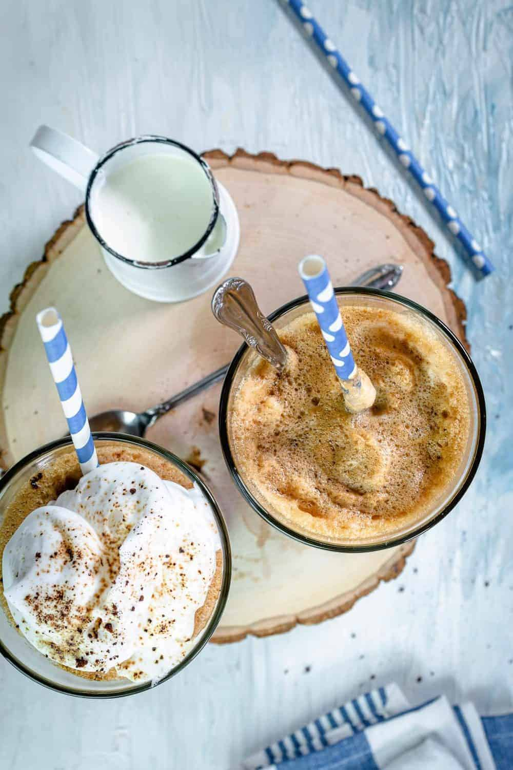 Overhead photo if the glasses filled with Greek frappe coffee.