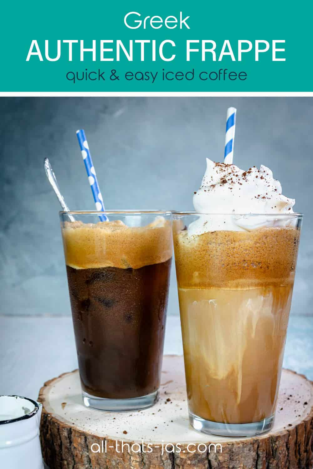 Two frappe drinks with text overlay.