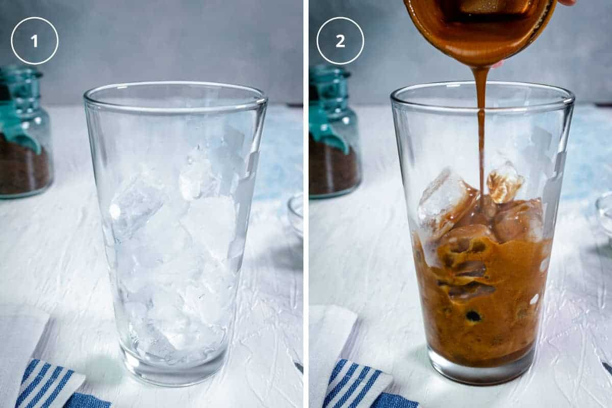 A photo of a glass with ice cubes and a photo pouring the coffee mix over the ice in a glass.