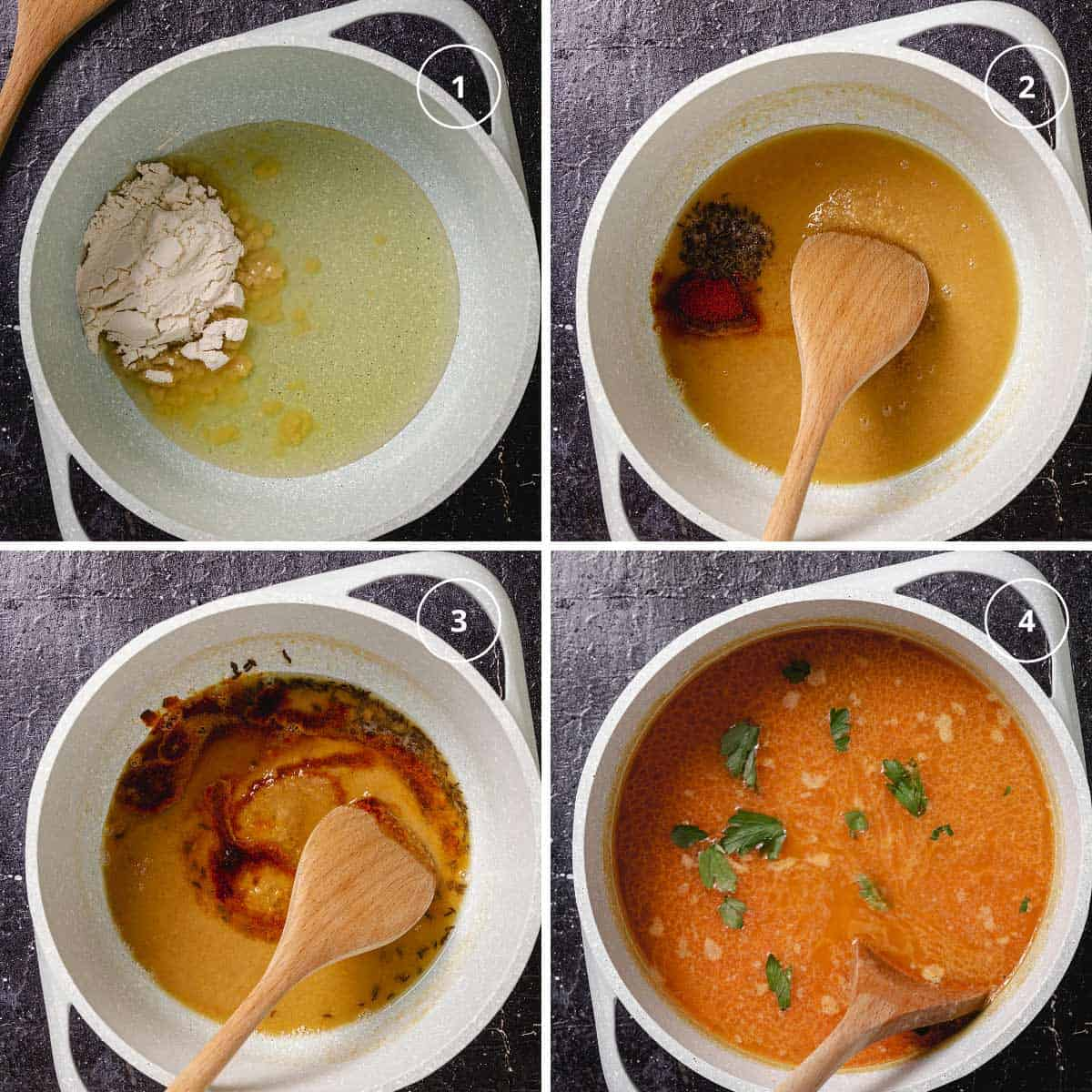 Four-image photo of making the roux in a pot and adding broth and spices to make the ajnpren soup.