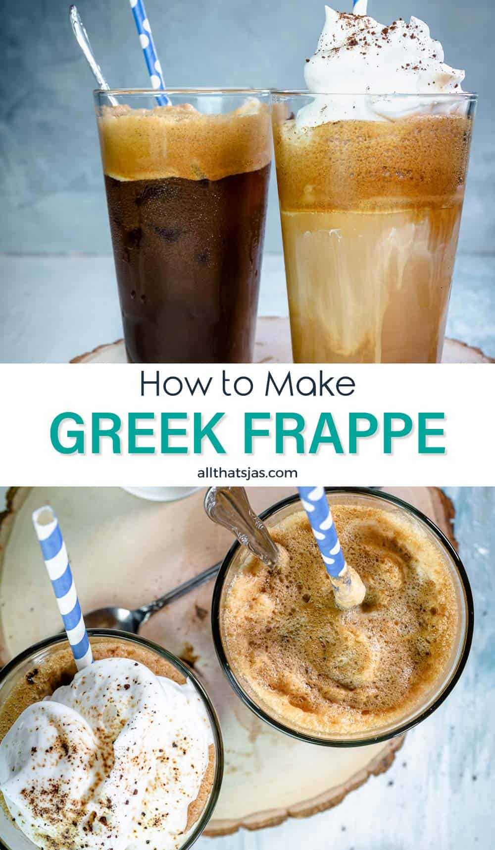Two photo image of Greek iced coffee drink in glasses with text in the middle.
