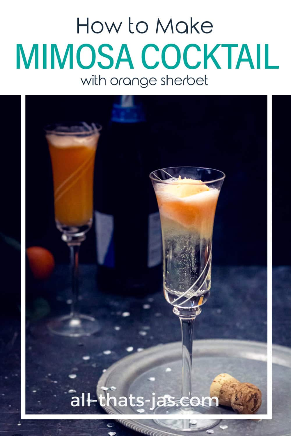 A glass with sparkling wine topped with a scoop of sherbet with text overlay.