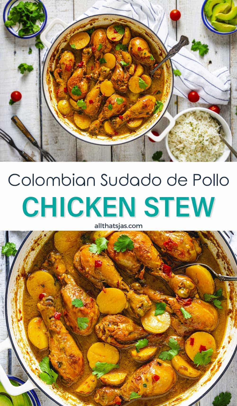 Two photo image of the chicken dish from South America with text overlay in the middle.