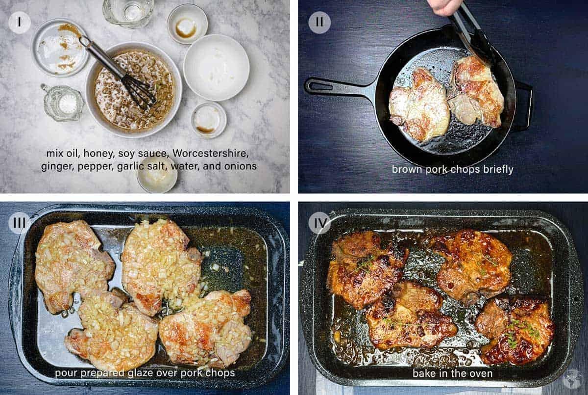 Step by step tutorial to making honey-glazed pork.