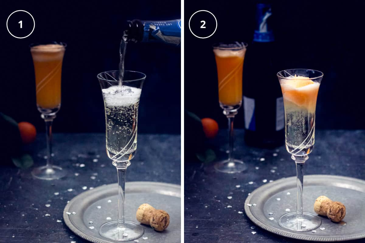 Two step photos on how to make the best champagne mimosa punch with orange ice cream.