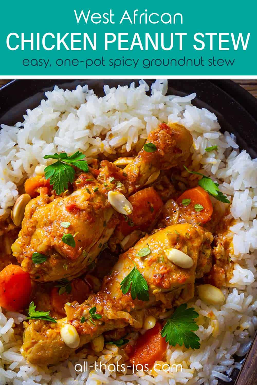A closeup of the chicken drumsticks in spicy peanut sauce over white rice with text overlay.