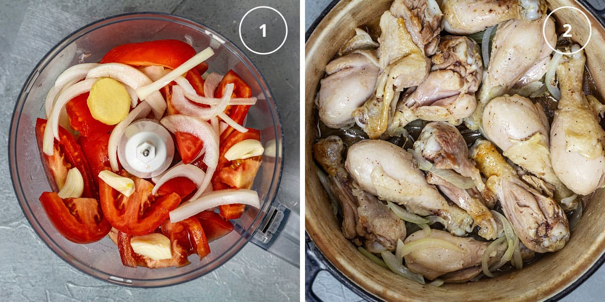 Two photo image with vegetables in a food processor and chicken pieces in a pot with onions.