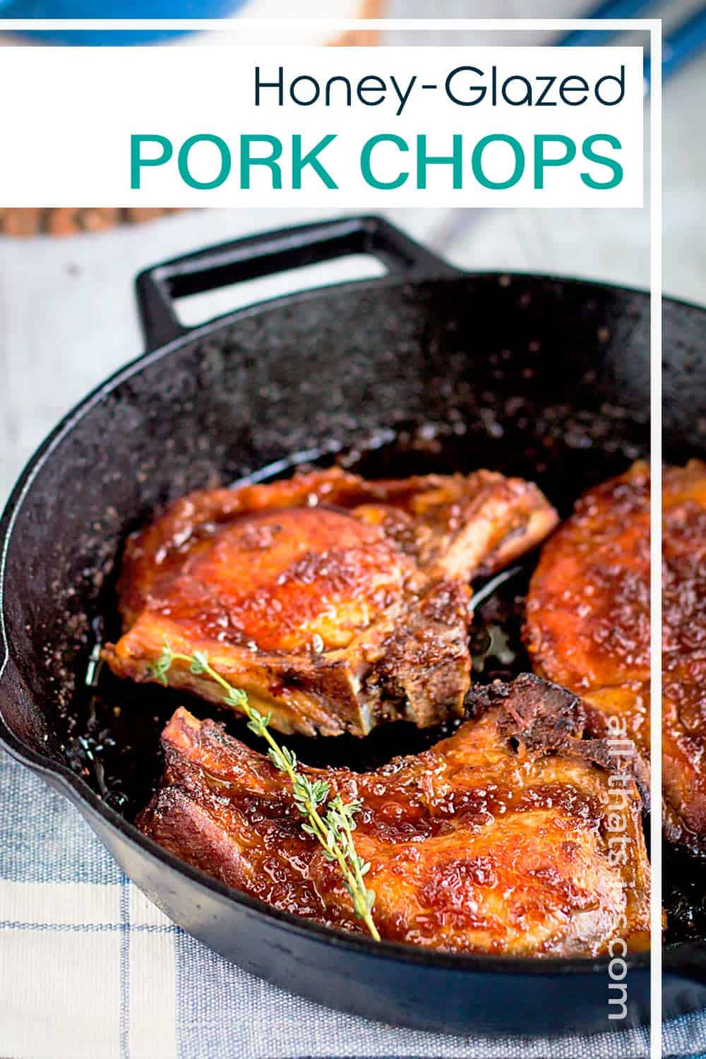 Chops in a iron skillet with text overlay.