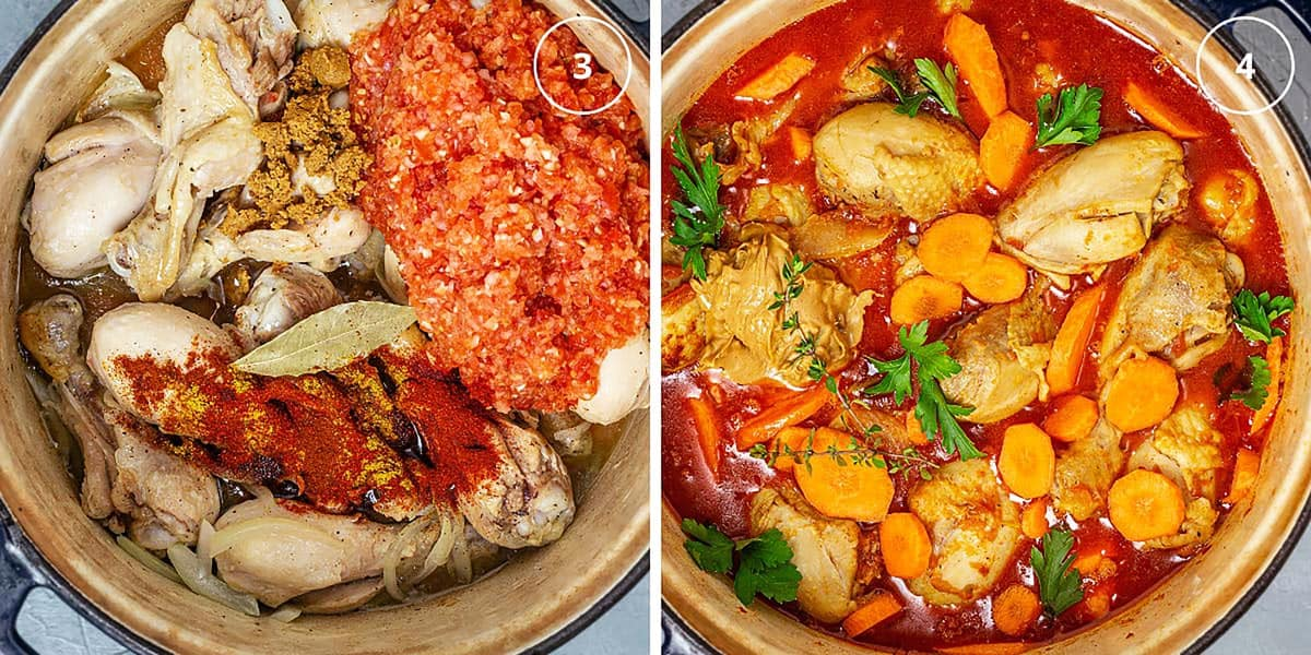 Two photo image with chicken and tomato sauce in a pot and a pot with finished peanut soup.