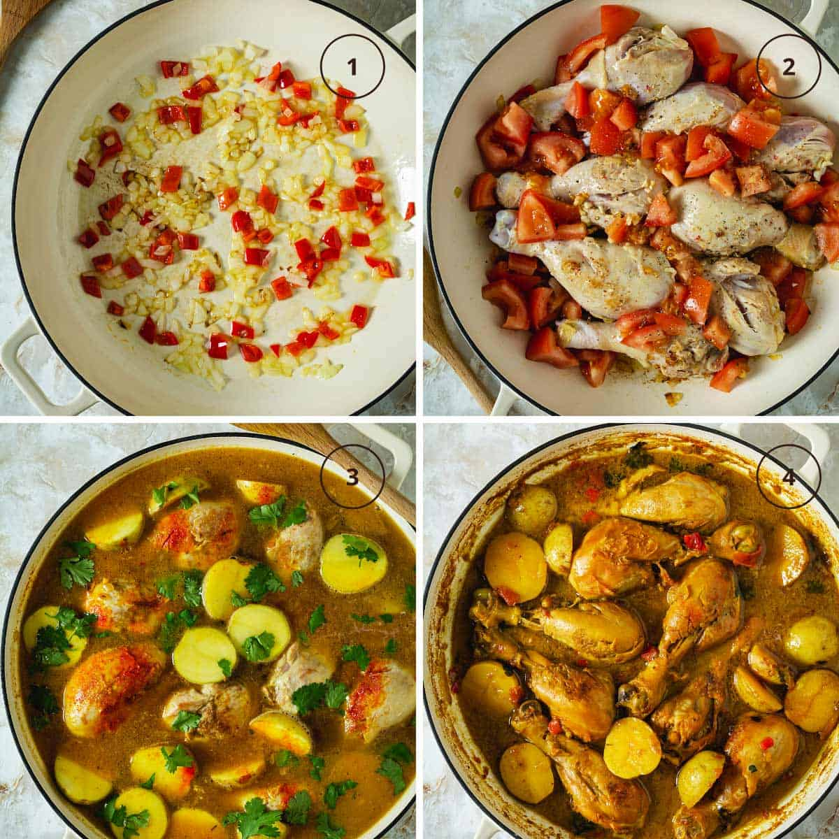Four-step image for making the chicken potato stew from Colombia.