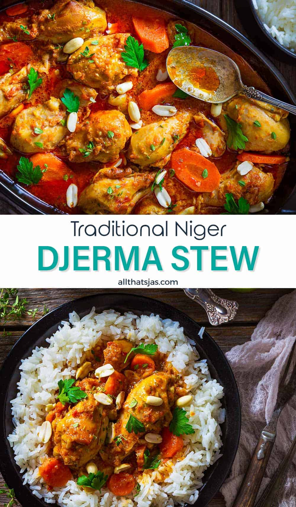 Two photo image of traditional Niger stew Djerma with text overlay in the middle.