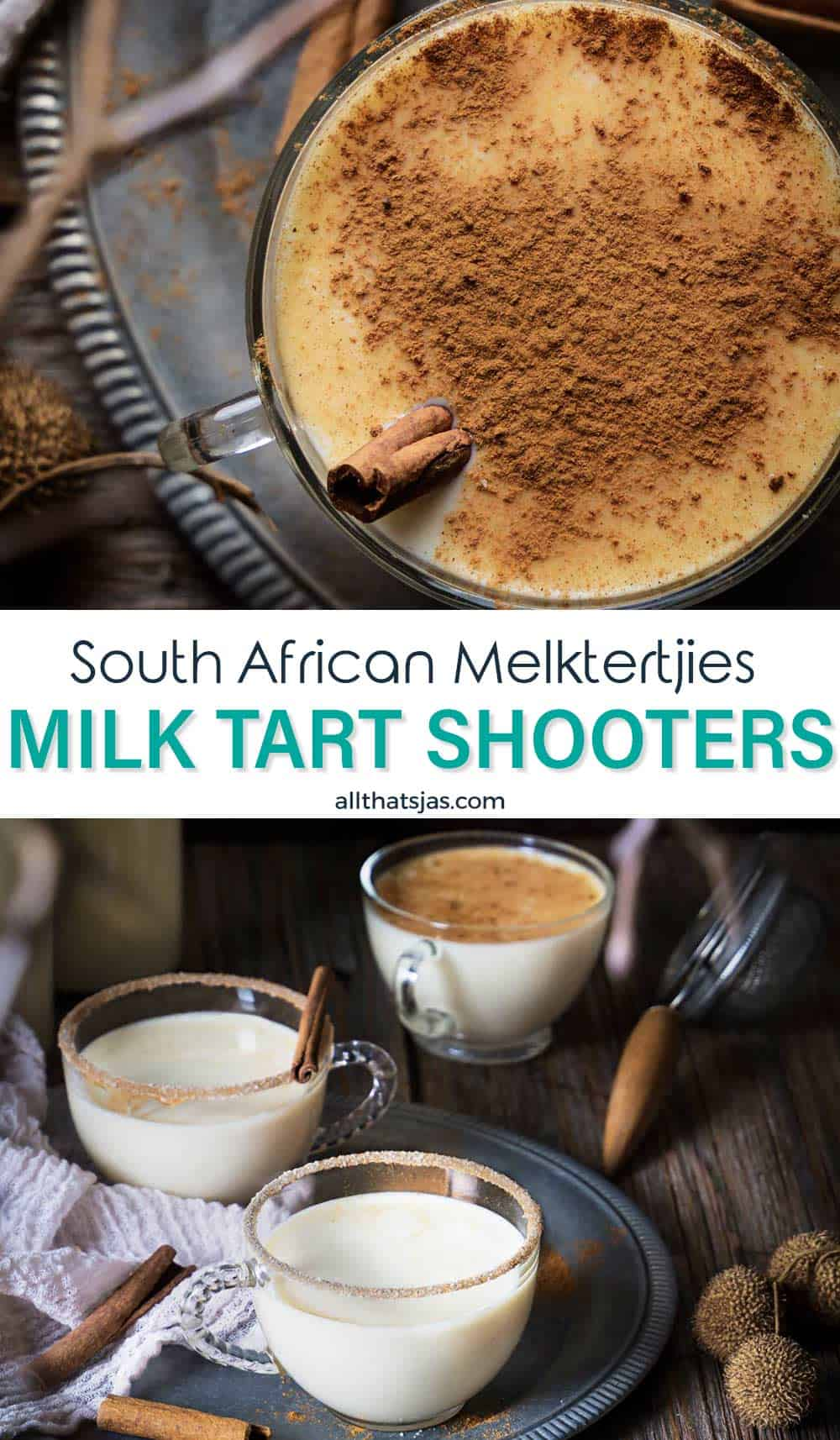 Two image photo of the milk tart liqueur and text overlay in the middle.